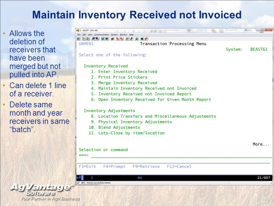 Maintain Inventory Received not Invoiced Allows the deletion of receivers that have been merged but not pulled into AP.