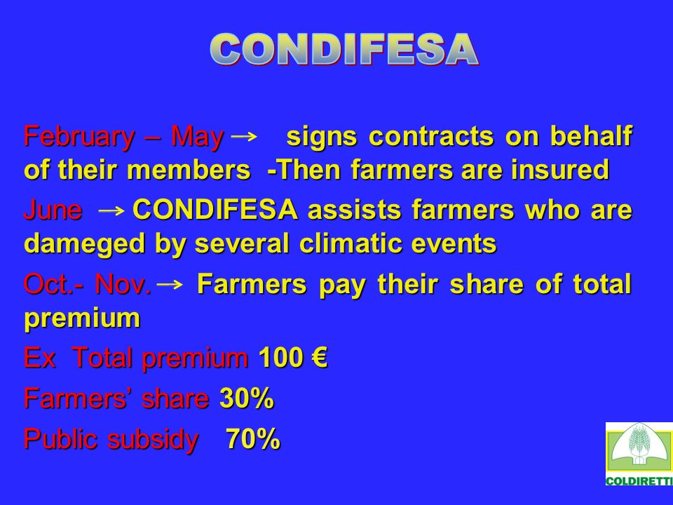 February – May signs contracts on behalf of their members -Then farmers are insured June CONDIFESA assists farmers who are dameged by several climatic events Oct.- Nov.