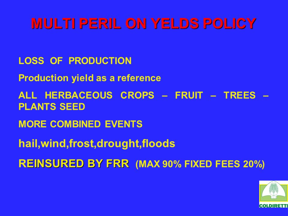 MULTI PERIL ON YELDS POLICY LOSS OF PRODUCTION Production yield as a reference ALL HERBACEOUS CROPS – FRUIT – TREES – PLANTS SEED MORE COMBINED EVENTS hail,wind,frost,drought,floods EINSURED BY FRR REINSURED BY FRR (MAX 90% FIXED FEES 20%)