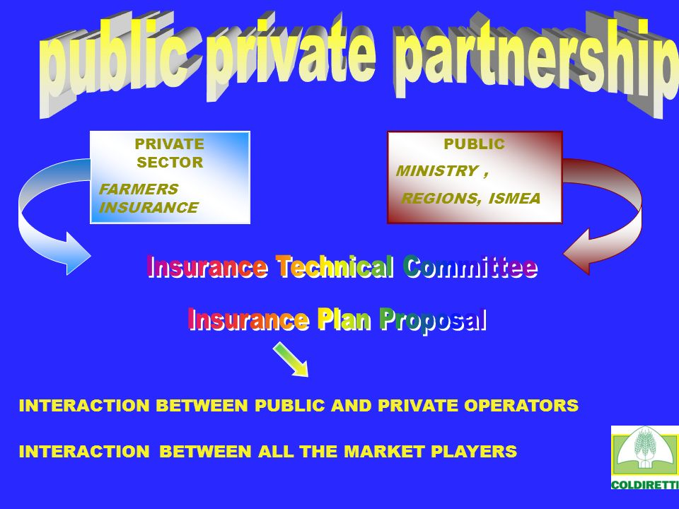 INTERACTION BETWEEN PUBLIC AND PRIVATE OPERATORS INTERACTION BETWEEN ALL THE MARKET PLAYERS PRIVATE SECTOR FARMERS INSURANCE PUBLIC MINISTERE, REGIONS, ISMEA PUBLIC MINISTRY, REGIONS, ISMEA