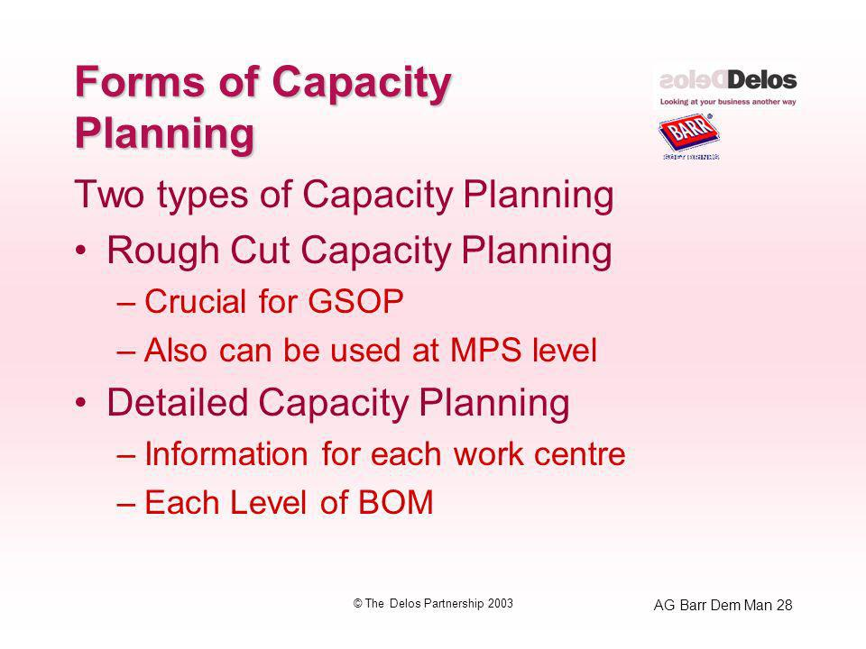 AG Barr Dem Man 28 © The Delos Partnership 2003 Forms of Capacity Planning Two types of Capacity Planning Rough Cut Capacity Planning –Crucial for GSOP –Also can be used at MPS level Detailed Capacity Planning –Information for each work centre –Each Level of BOM