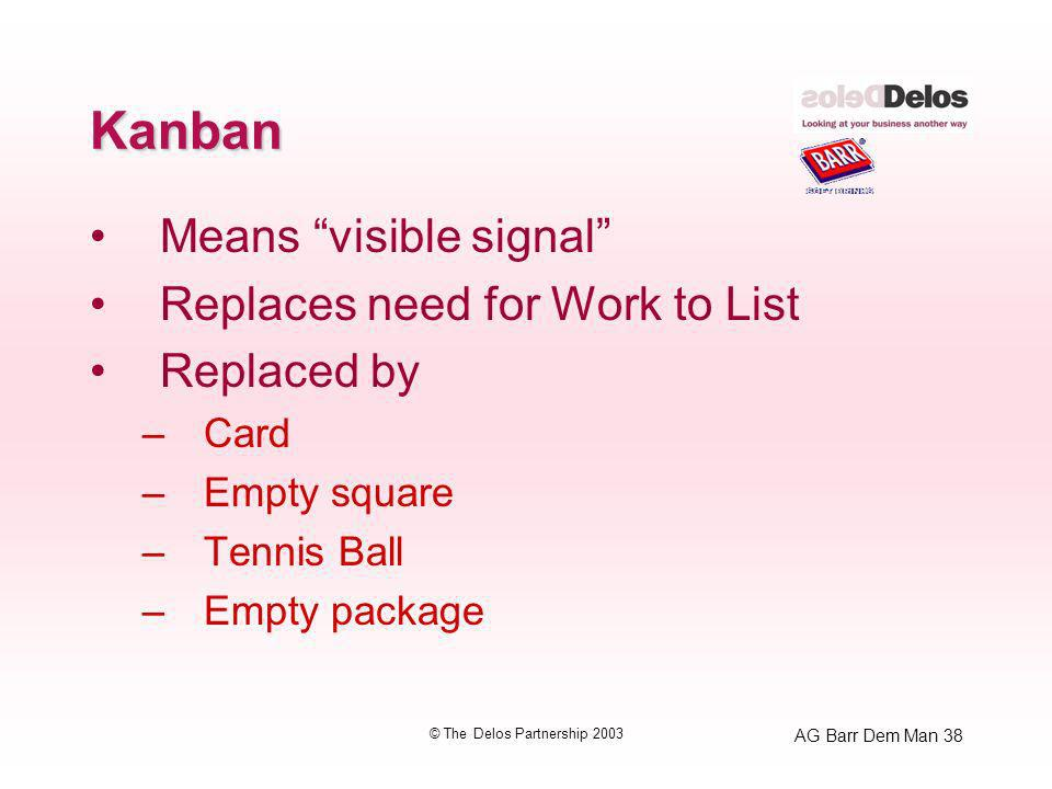AG Barr Dem Man 38 © The Delos Partnership 2003 Kanban Means visible signal Replaces need for Work to List Replaced by –Card –Empty square –Tennis Ball –Empty package