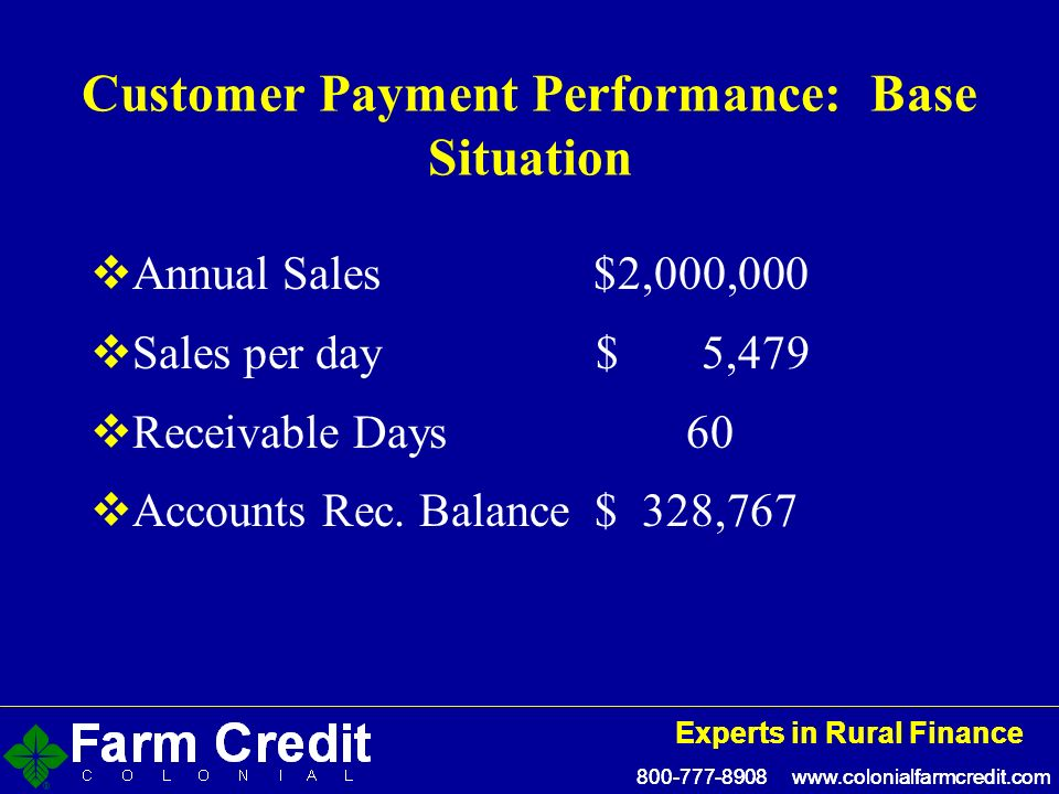 800-777-8908 www.colonialfarmcredit.com Experts in Rural Finance 800-777-8908 www.colonialfarmcredit.com Experts in Rural Finance Customer Payment Performance: Base Situation Annual Sales $2,000,000 Sales per day $ 5,479 Receivable Days 60 Accounts Rec.