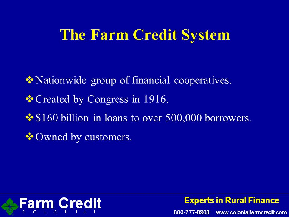 800-777-8908 www.colonialfarmcredit.com Experts in Rural Finance 800-777-8908 www.colonialfarmcredit.com Experts in Rural Finance The Farm Credit System Nationwide group of financial cooperatives.