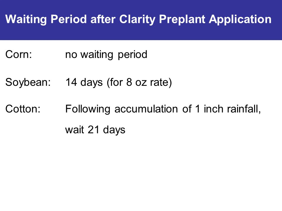 Waiting Period after Clarity Preplant Application Corn:no waiting period Soybean:14 days (for 8 oz rate) Cotton:Following accumulation of 1 inch rainfall, wait 21 days
