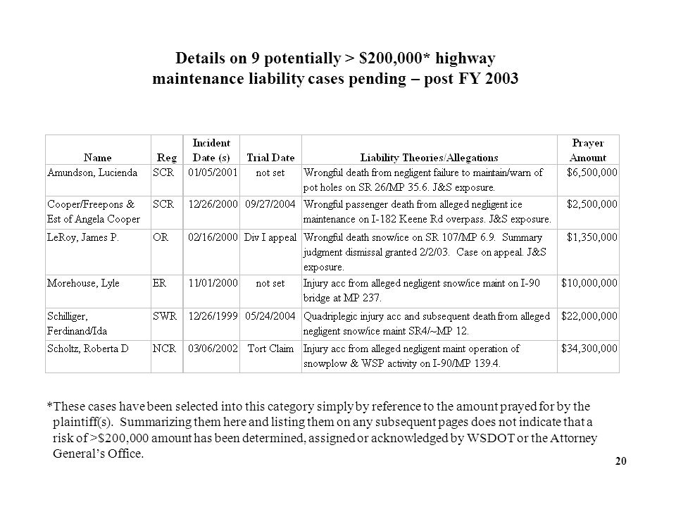 Details on 9 potentially > $200,000* highway maintenance liability cases pending – post FY *These cases have been selected into this category simply by reference to the amount prayed for by the plaintiff(s).