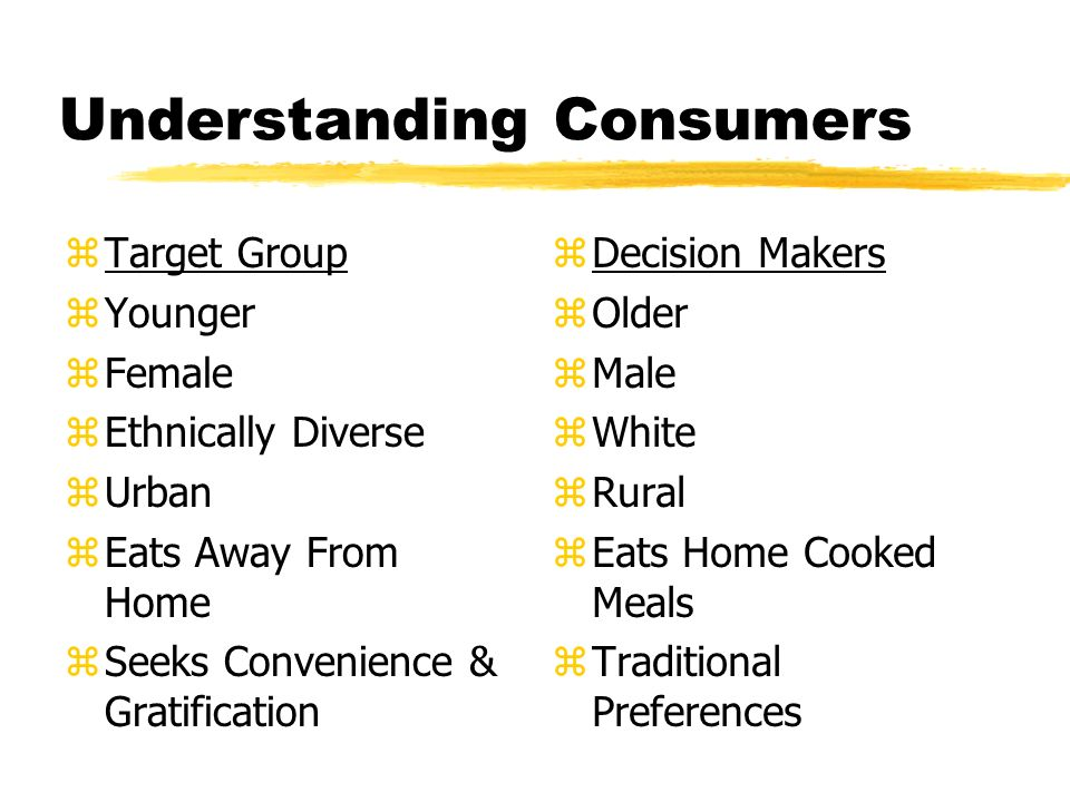 Understanding Consumers zTarget Group zYounger zFemale zEthnically Diverse zUrban zEats Away From Home zSeeks Convenience & Gratification z Decision Makers z Older z Male z White z Rural z Eats Home Cooked Meals z Traditional Preferences