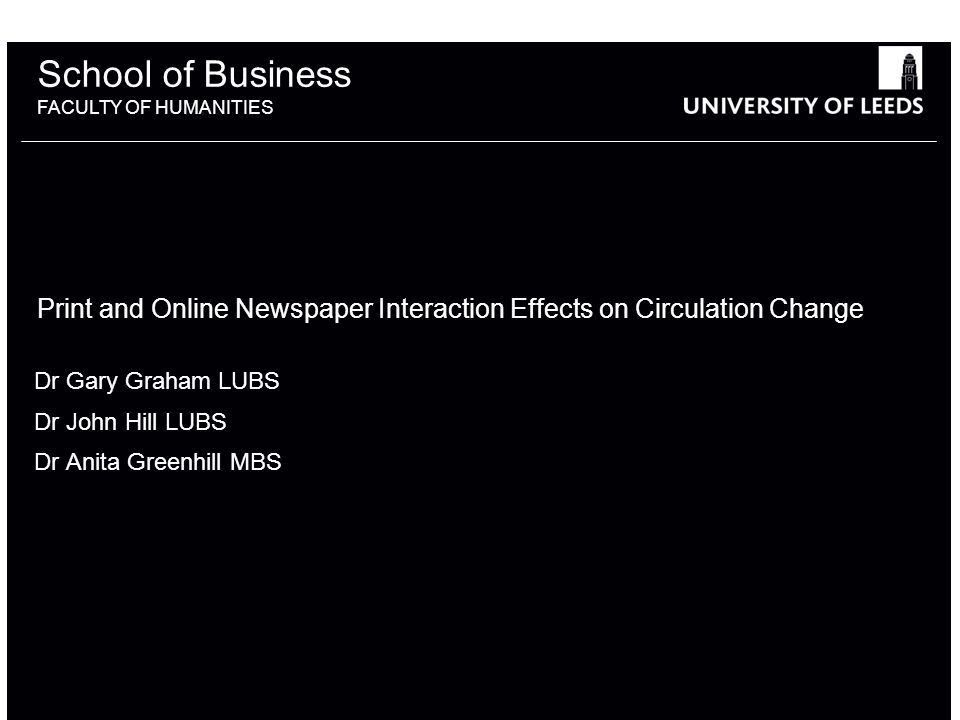 School of Business FACULTY OF HUMANITIES Print and Online Newspaper Interaction Effects on Circulation Change Dr Gary Graham LUBS Dr John Hill LUBS Dr Anita Greenhill MBS