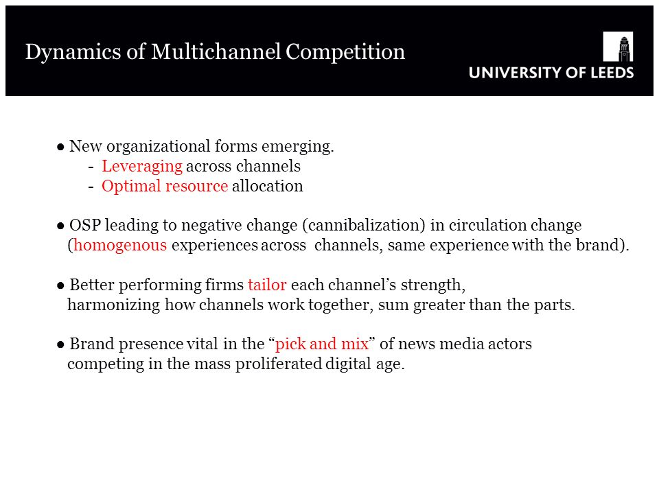 Dynamics of Multichannel Competition New organizational forms emerging.