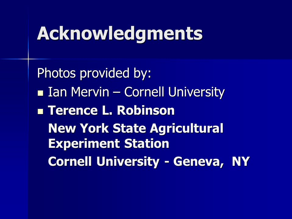 Acknowledgments Photos provided by: Ian Mervin – Cornell University Ian Mervin – Cornell University Terence L.
