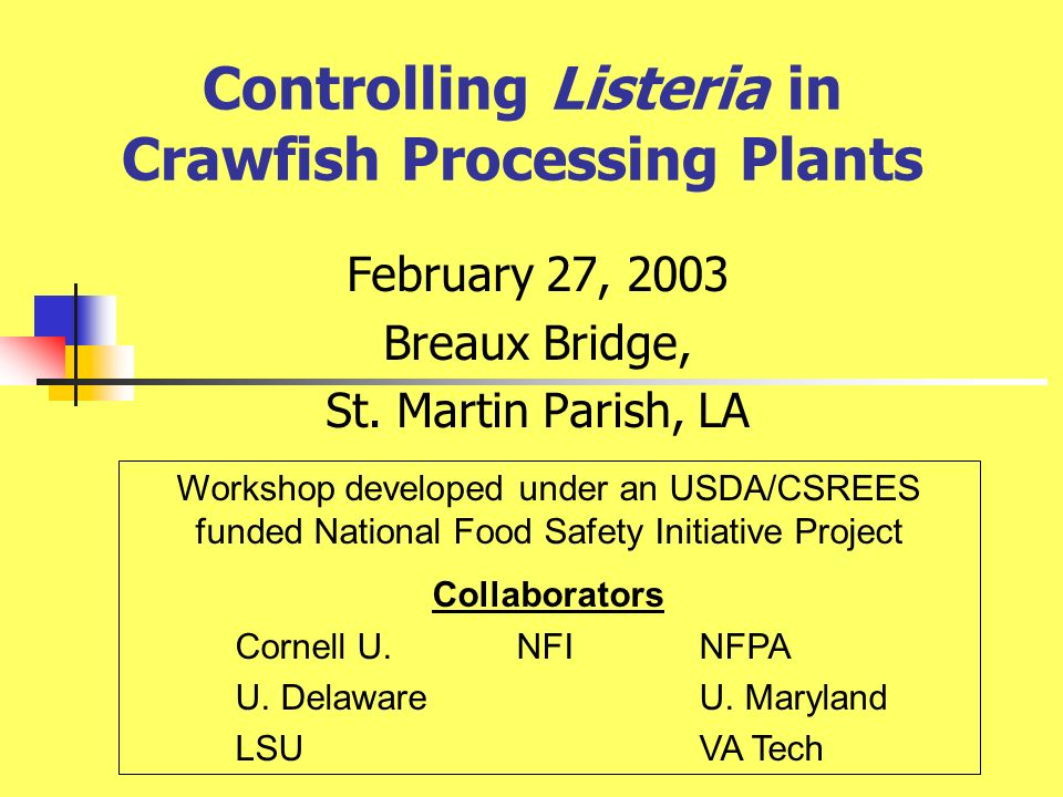 Controlling Listeria in Crawfish Processing Plants February 27, 2003 Breaux Bridge, St.