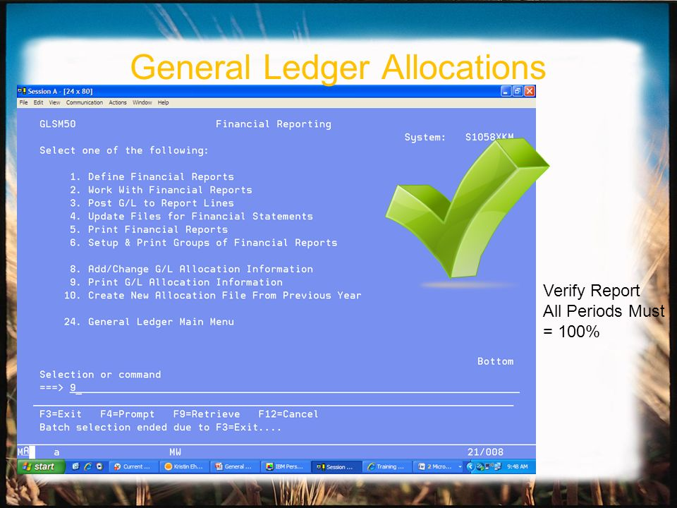 Verify Report All Periods Must = 100% General Ledger Allocations