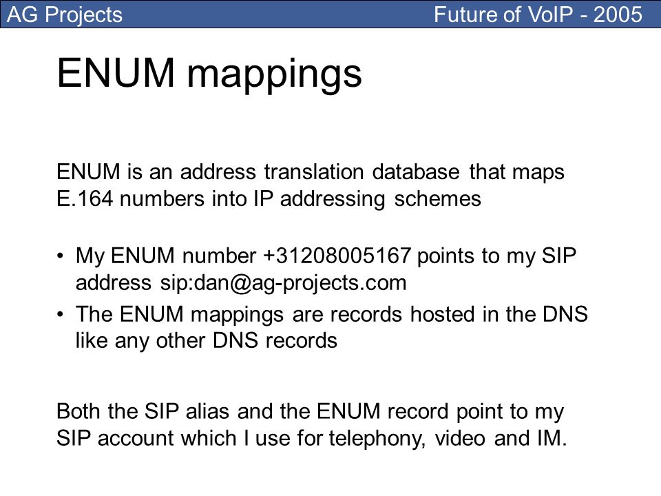 AG Projects Future of VoIP ENUM mappings My ENUM number points to my SIP address The ENUM mappings are records hosted in the DNS like any other DNS records ENUM is an address translation database that maps E.164 numbers into IP addressing schemes Both the SIP alias and the ENUM record point to my SIP account which I use for telephony, video and IM.