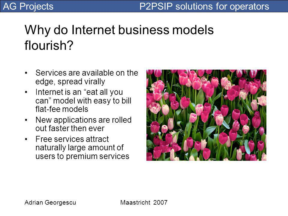 AG Projects P2PSIP solutions for operators Adrian GeorgescuMaastricht 2007 Why do Internet business models flourish.