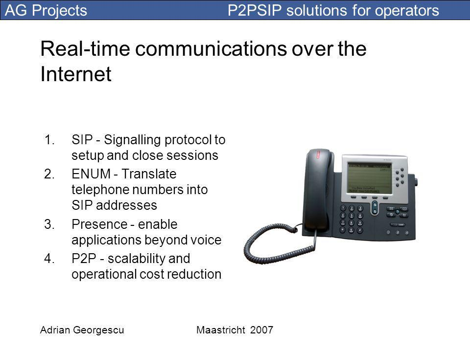 AG Projects P2PSIP solutions for operators Adrian GeorgescuMaastricht 2007 Real-time communications over the Internet 1.SIP - Signalling protocol to setup and close sessions 2.