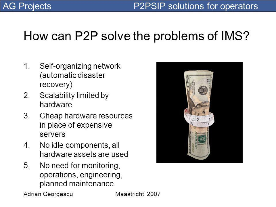 AG Projects P2PSIP solutions for operators Adrian GeorgescuMaastricht 2007 How can P2P solve the problems of IMS.