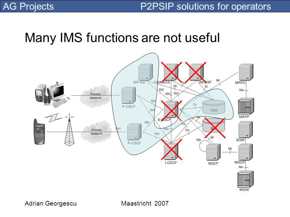 AG Projects P2PSIP solutions for operators Adrian GeorgescuMaastricht 2007 Many IMS functions are not useful