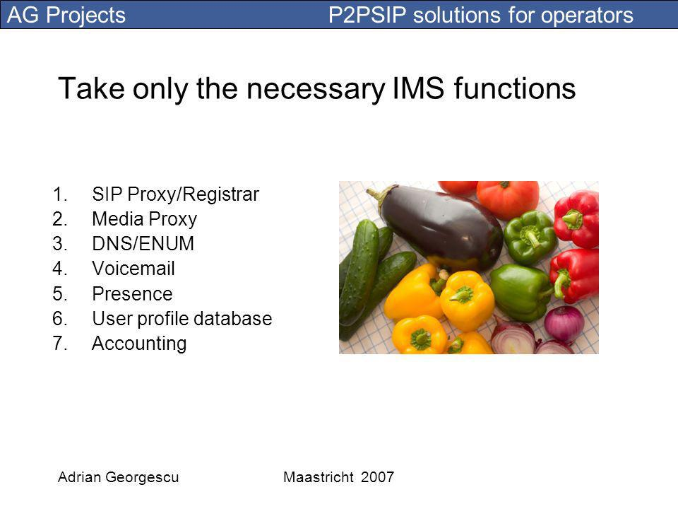 AG Projects P2PSIP solutions for operators Adrian GeorgescuMaastricht 2007 Take only the necessary IMS functions 1.SIP Proxy/Registrar 2.Media Proxy 3.DNS/ENUM 4.Voic 5.Presence 6.User profile database 7.Accounting