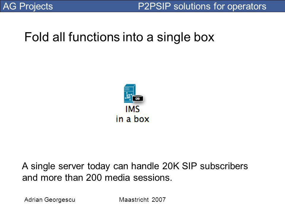 AG Projects P2PSIP solutions for operators Adrian GeorgescuMaastricht 2007 Fold all functions into a single box A single server today can handle 20K SIP subscribers and more than 200 media sessions.