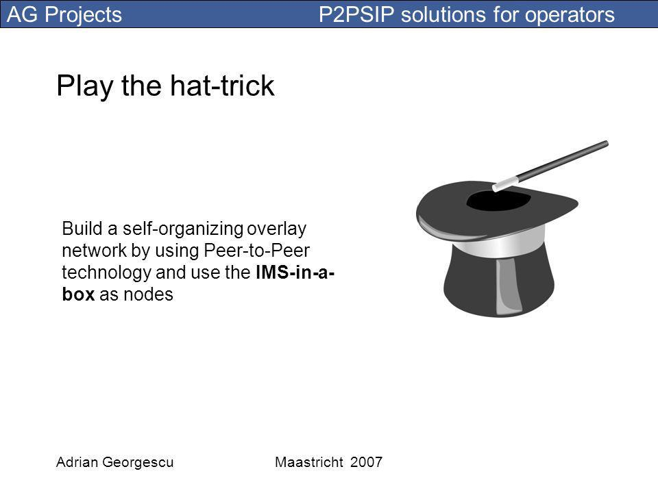 AG Projects P2PSIP solutions for operators Adrian GeorgescuMaastricht 2007 Play the hat-trick Build a self-organizing overlay network by using Peer-to-Peer technology and use the IMS-in-a- box as nodes