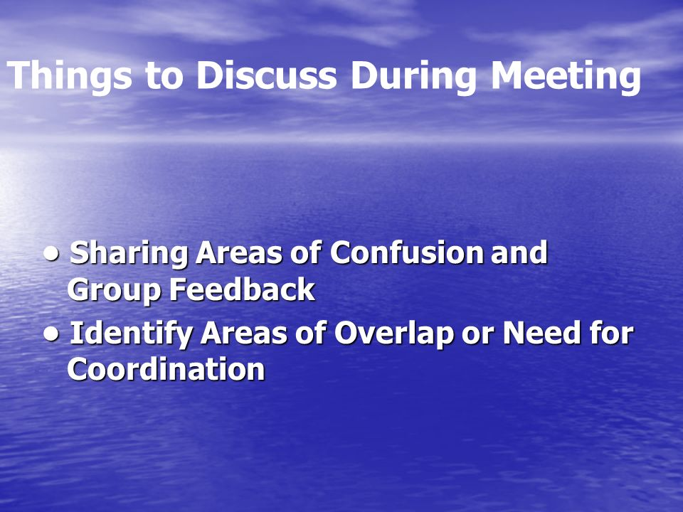 Things to Discuss During Meeting Sharing Areas of Confusion and Group Feedback Sharing Areas of Confusion and Group Feedback Identify Areas of Overlap or Need for Coordination Identify Areas of Overlap or Need for Coordination