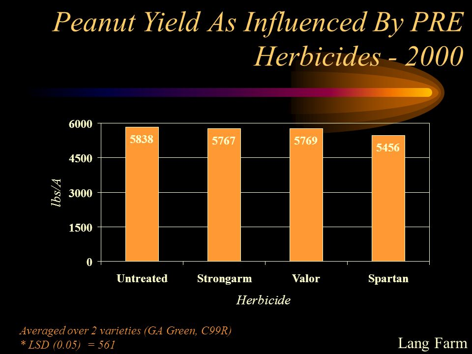 Peanut Yield As Influenced By PRE Herbicides - 2000 57675769 5456 5838 0 1500 3000 4500 6000 UntreatedStrongarmValorSpartan Herbicide lbs/A Averaged over 2 varieties (GA Green, C99R) * LSD (0.05) = 561 Lang Farm