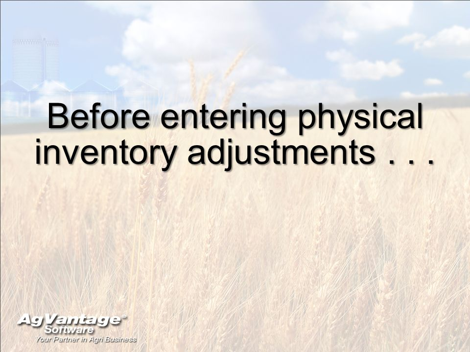 Before entering physical inventory adjustments...