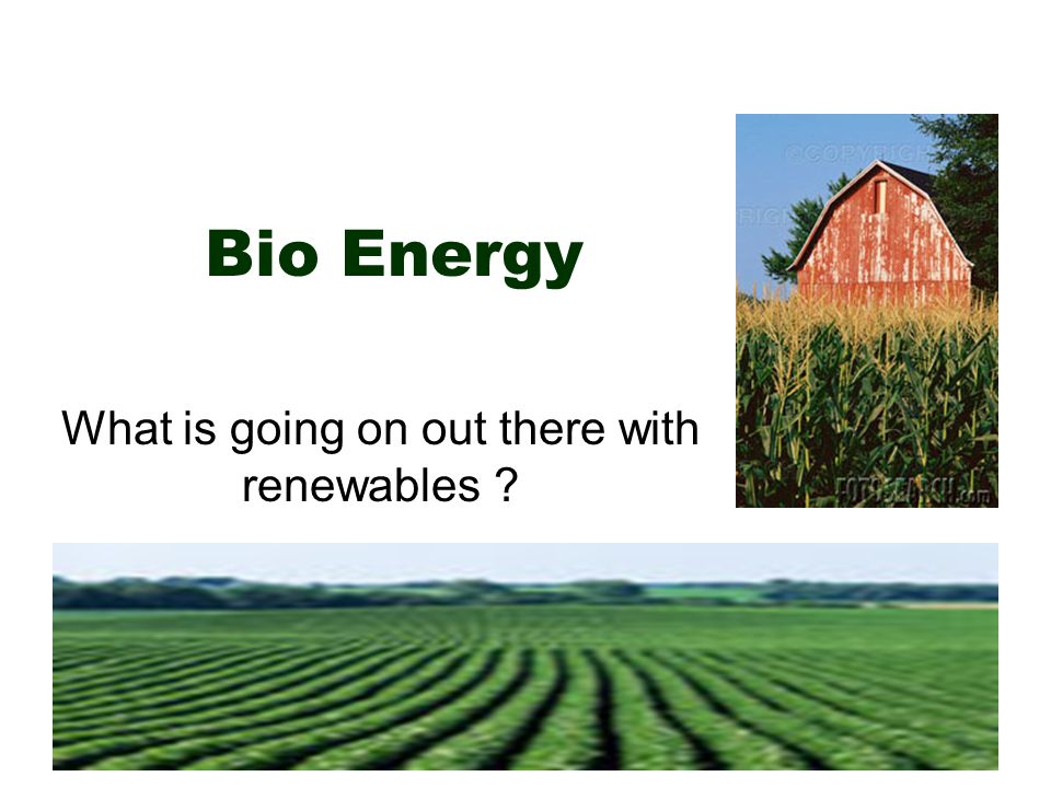 Bio Energy What is going on out there with renewables
