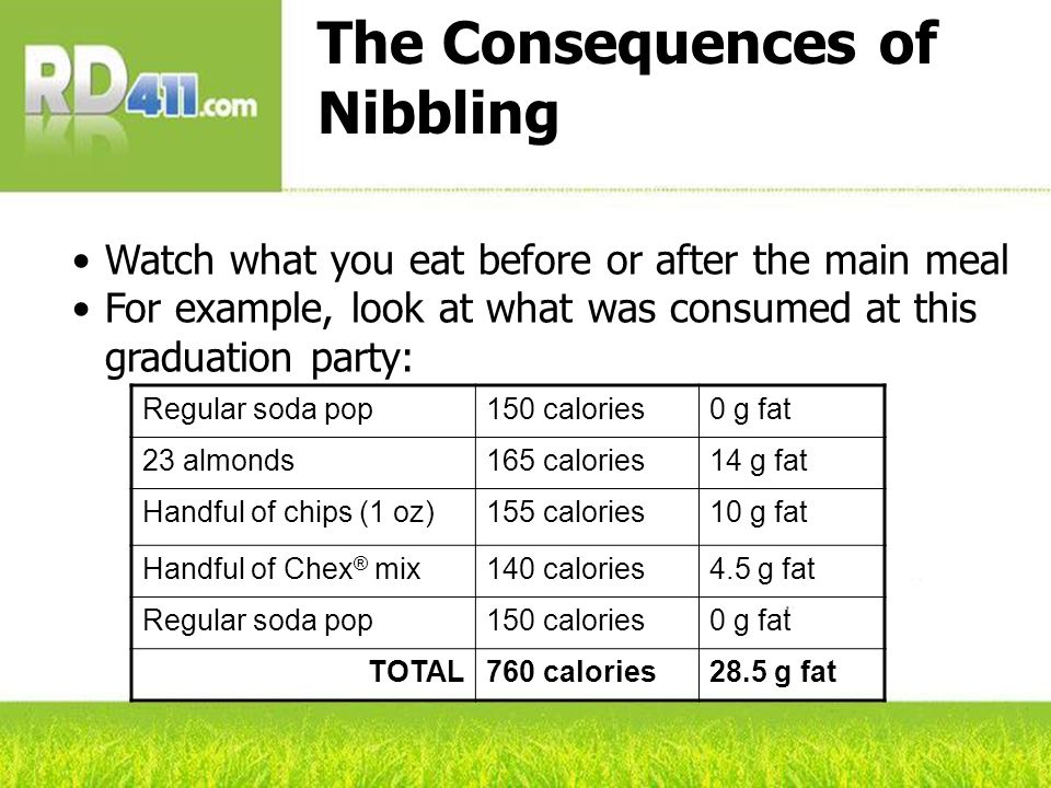 The Consequences of Nibbling Watch what you eat before or after the main meal For example, look at what was consumed at this graduation party: Regular soda pop150 calories0 g fat 23 almonds165 calories14 g fat Handful of chips (1 oz)155 calories10 g fat Handful of Chex ® mix140 calories4.5 g fat Regular soda pop150 calories0 g fat TOTAL760 calories28.5 g fat