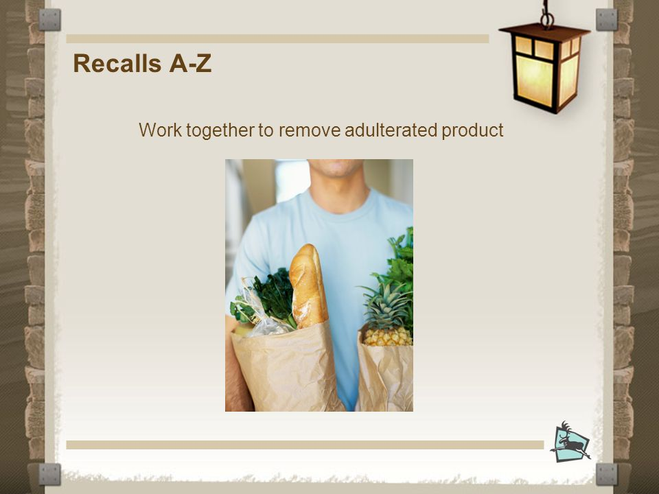 Recalls A-Z Work together to remove adulterated product