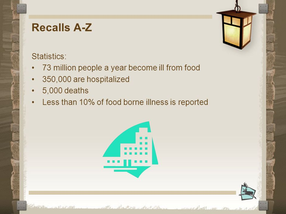 Recalls A-Z Statistics: 73 million people a year become ill from food 350,000 are hospitalized 5,000 deaths Less than 10% of food borne illness is reported