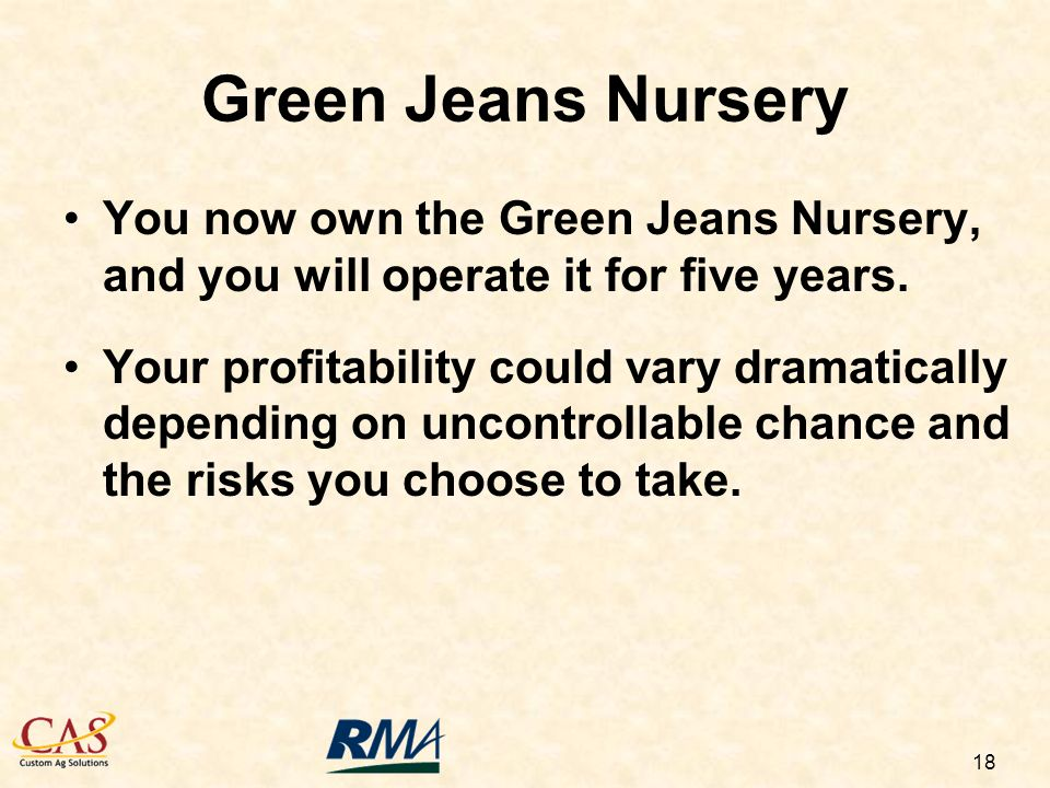 18 You now own the Green Jeans Nursery, and you will operate it for five years.