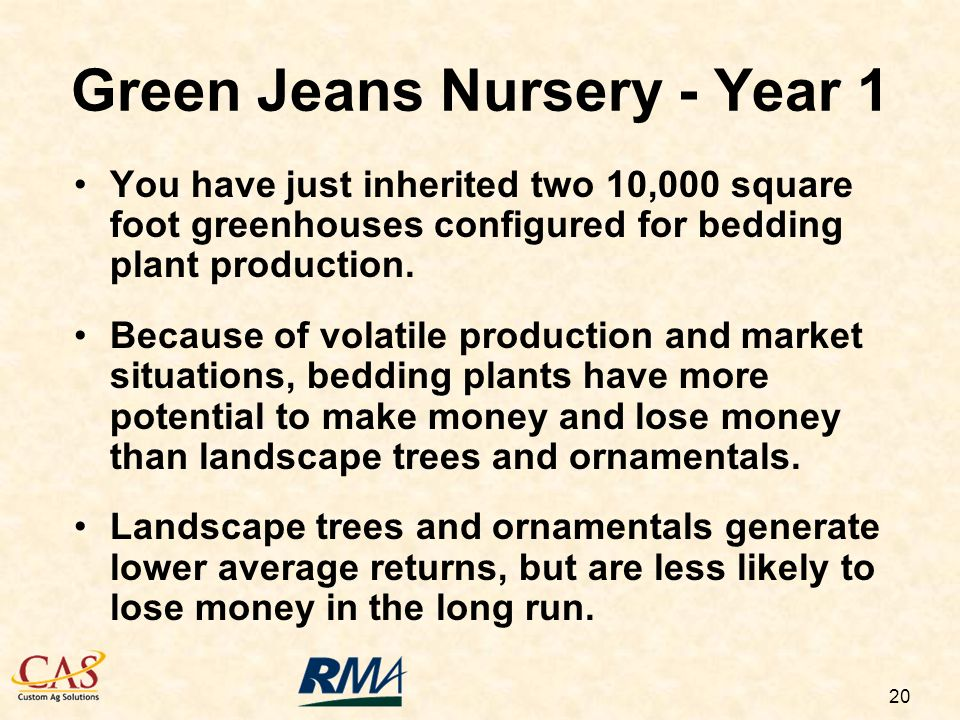 20 Green Jeans Nursery - Year 1 You have just inherited two 10,000 square foot greenhouses configured for bedding plant production.