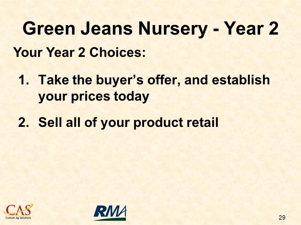 29 1.Take the buyers offer, and establish your prices today 2.Sell all of your product retail Green Jeans Nursery - Year 2 Your Year 2 Choices: