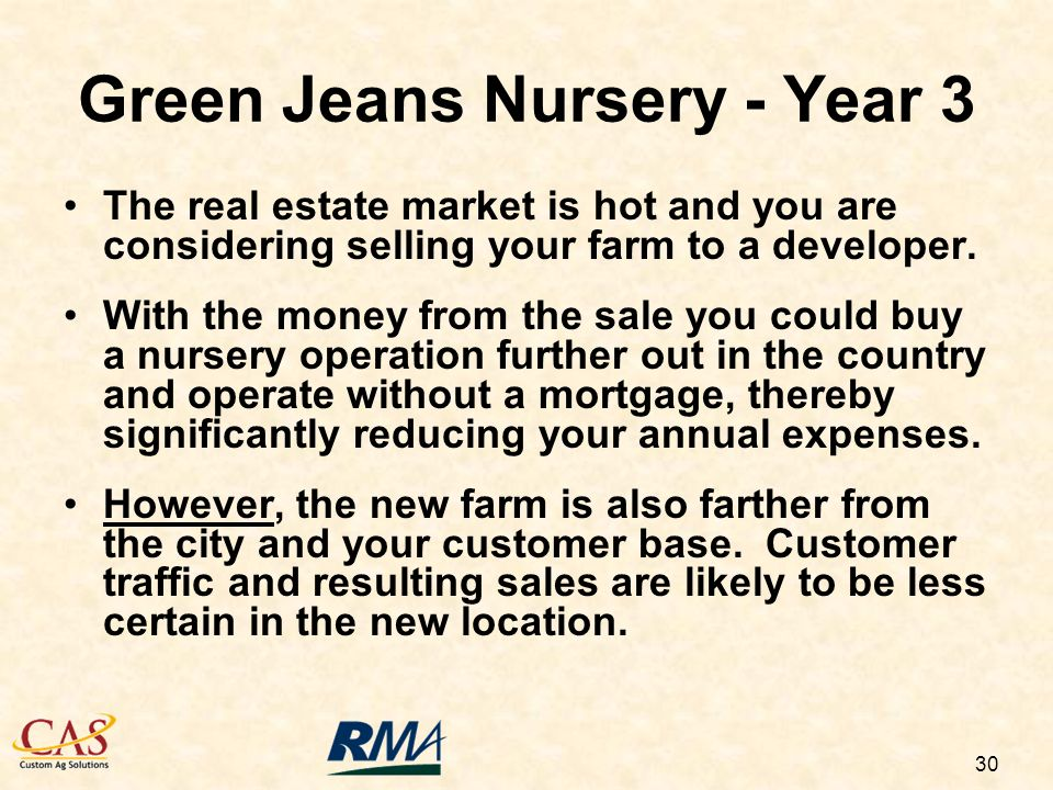 30 The real estate market is hot and you are considering selling your farm to a developer.