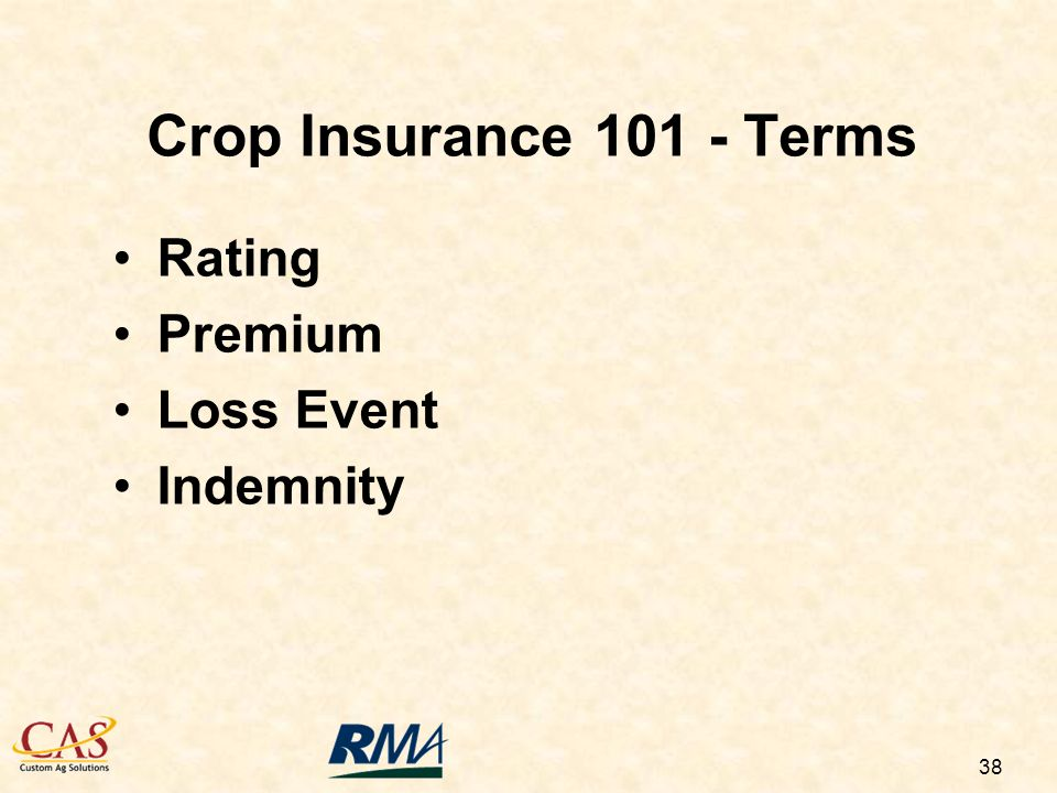 38 Rating Premium Loss Event Indemnity Crop Insurance Terms