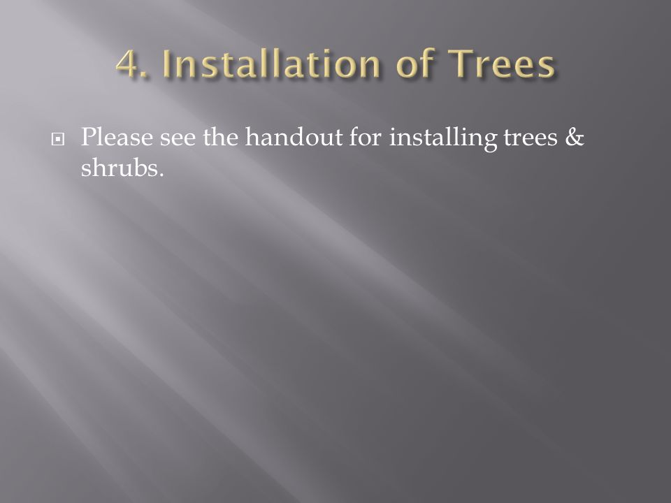 Please see the handout for installing trees & shrubs.