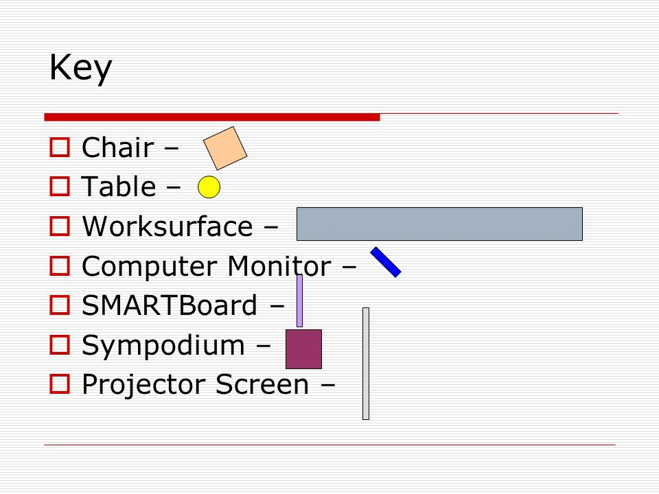Key Chair – Table – Worksurface – Computer Monitor – SMARTBoard – Sympodium – Projector Screen –