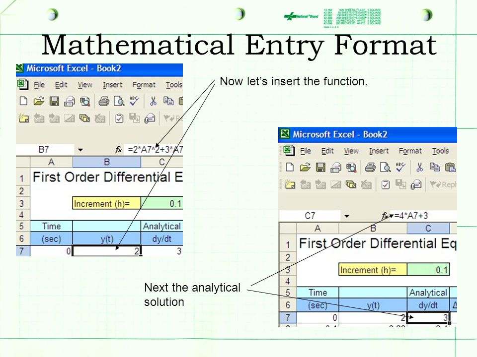 Mathematical Entry Format Now lets insert the function. Next the analytical solution