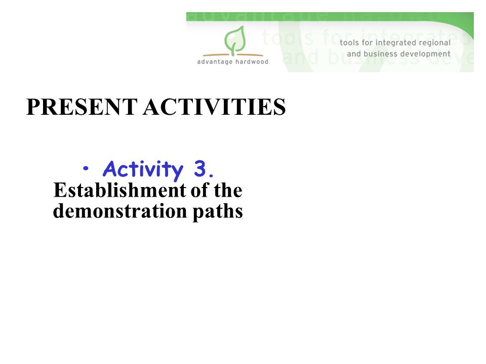 PRESENT ACTIVITIES Activity 3. Establishment of the demonstration paths