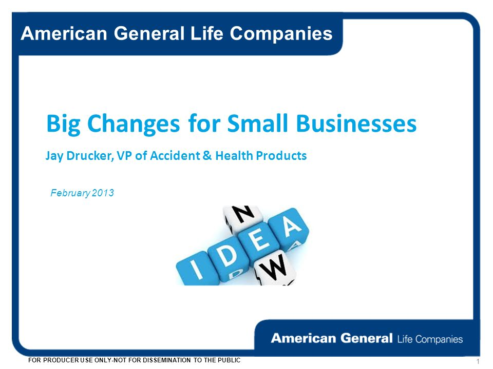 American General Life Companies FOR PRODUCER USE ONLY-NOT FOR DISSEMINATION TO THE PUBLIC 1 February 2013 Big Changes for Small Businesses Jay Drucker, VP of Accident & Health Products