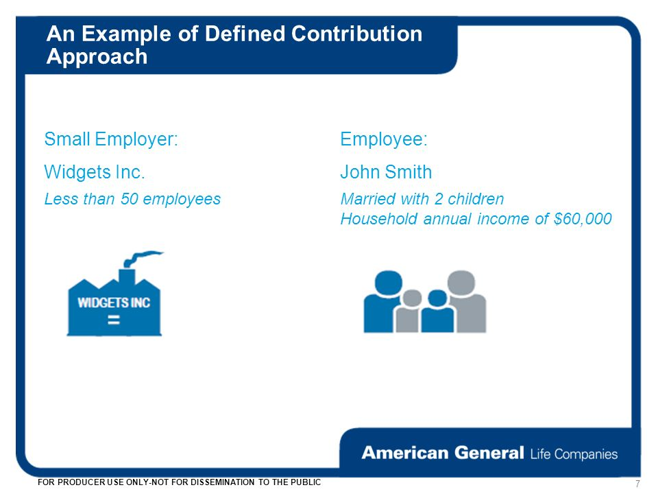 An Example of Defined Contribution Approach 7 FOR PRODUCER USE ONLY-NOT FOR DISSEMINATION TO THE PUBLIC Small Employer:Employee: Widgets Inc.John Smith Less than 50 employeesMarried with 2 children Household annual income of $60,000