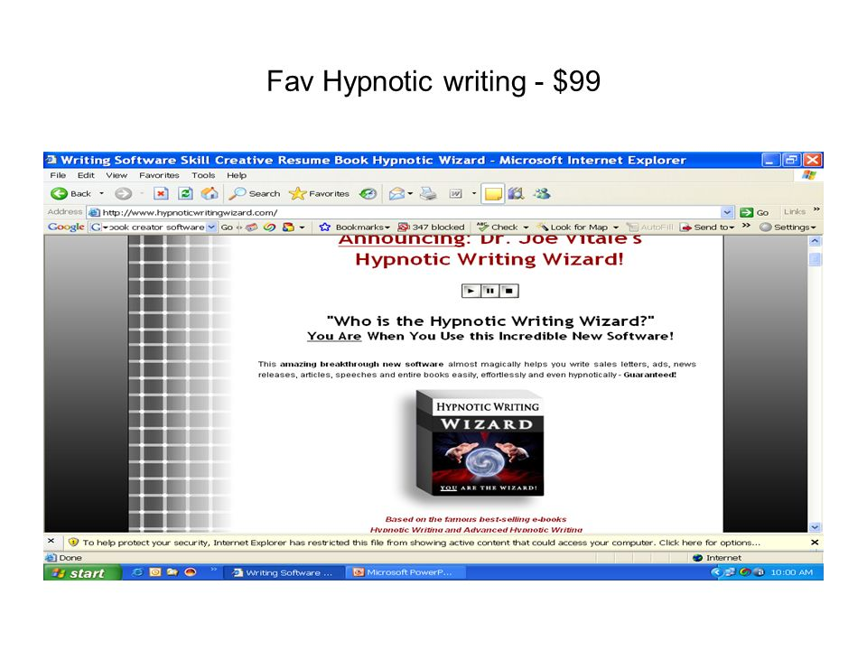 Fav Hypnotic writing - $99