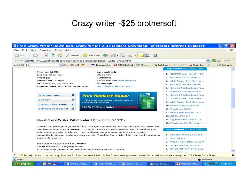 Crazy writer -$25 brothersoft