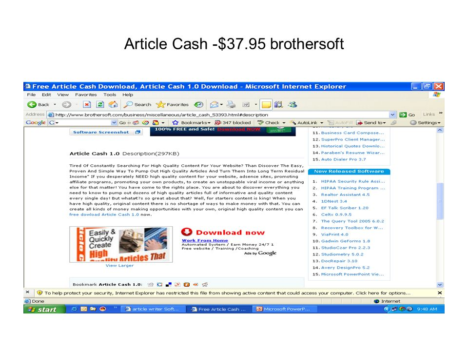 Article Cash -$37.95 brothersoft