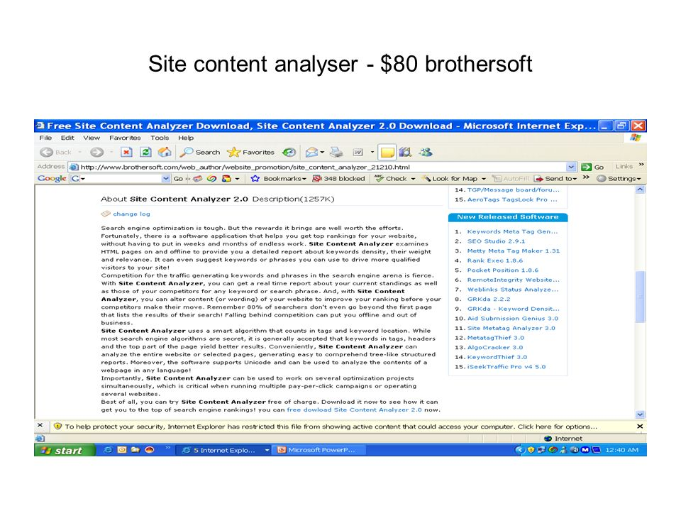 Site content analyser - $80 brothersoft