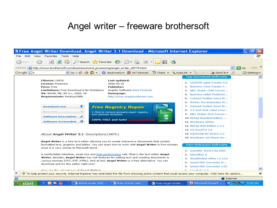 Angel writer – freeware brothersoft