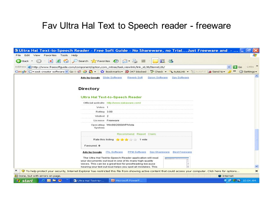 Fav Ultra Hal Text to Speech reader - freeware