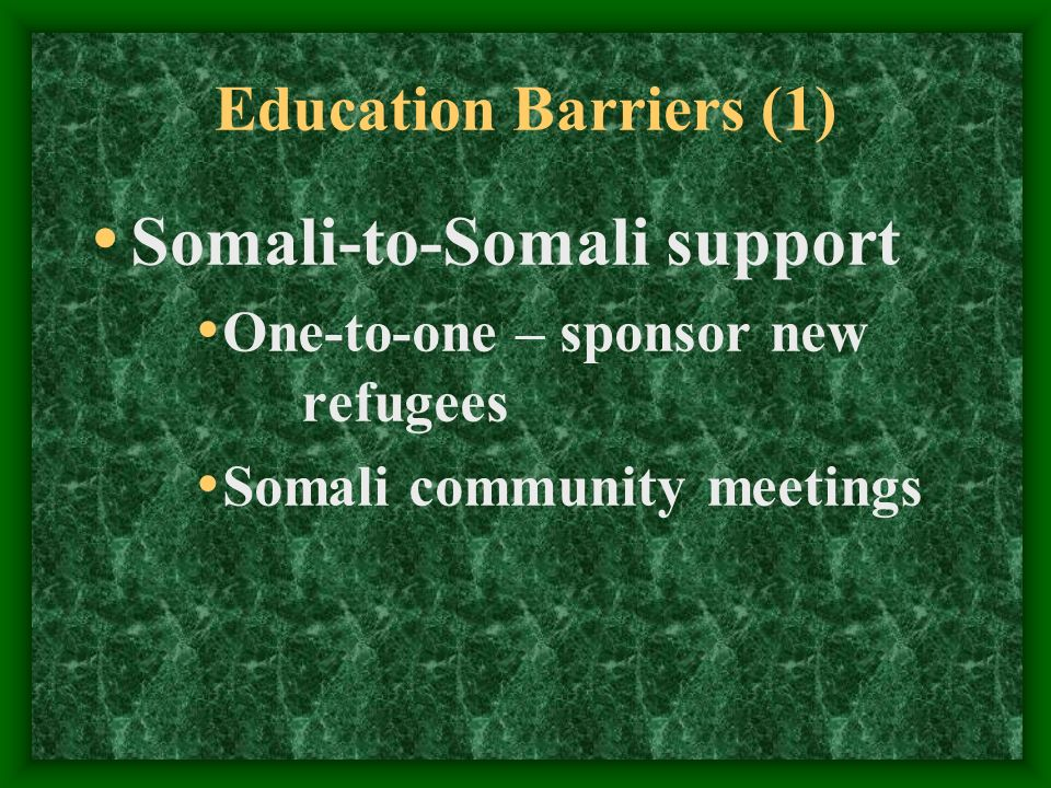 Education Barriers (1) Somali-to-Somali support One-to-one – sponsor new refugees Somali community meetings