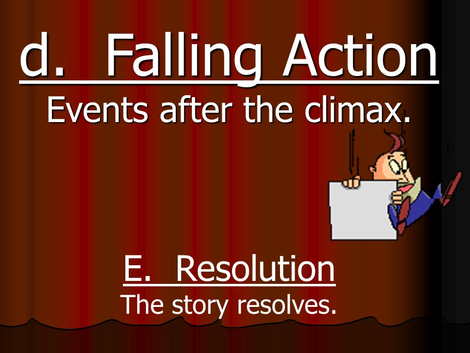 b. Rising Action Events leading to the climax. c.